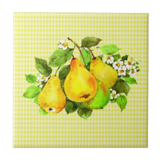 Pears on Yellow Plaid Tile