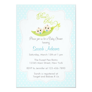 Peas in A Pod Baby Shower Invitation Twin Boys