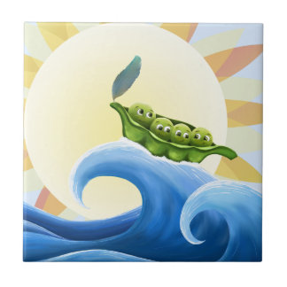 Peas in a Pod on a Wave in the Sun -fun- Tile