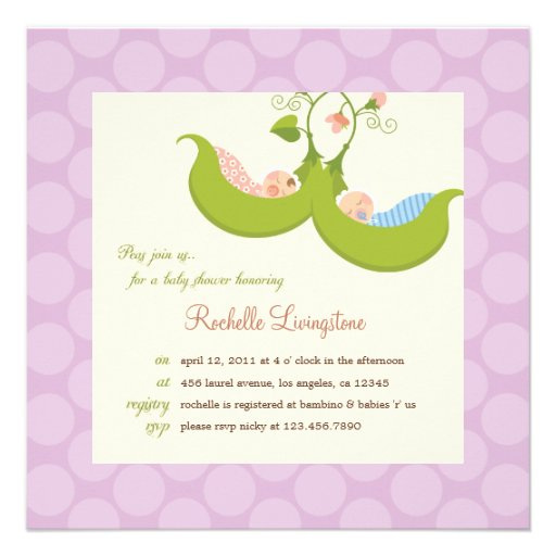 Peas in a Pod Twin Boy Girl Baby Shower Invitation