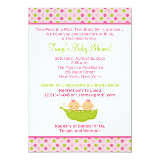 "Peas in a Pod Twin Girls 5x7 Baby Shower Invite 5"" X 7"" Invitation Card"