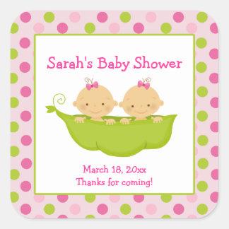 Peas in a Pod Twin Girls Square Favor Sticker