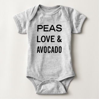 Peas Love and Avocado Food Pun Baby Bodysuit