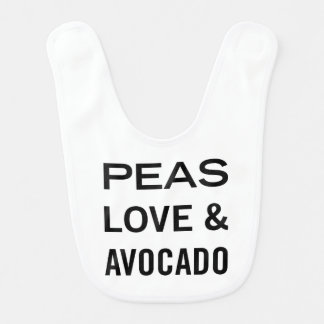Peas Love and Avocado Funny Food Pun Bib