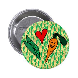 Peas Love Carrots Cute Green and Orange Design Pinback Button
