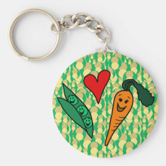 Peas Love Carrots Cute Green and Orange Design Key Chains
