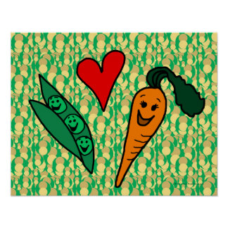 Peas Love Carrots Cute Green and Orange Design Print