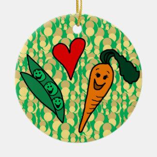 Peas Love Carrots, Cute Green and Orange Design Round Ceramic Ornament