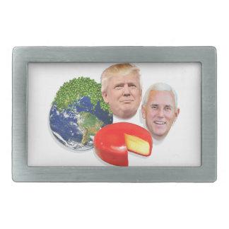 Peas on Earth Gouda Wheel 2 Men Trump & Pence Rectangular Belt Buckle