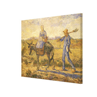 Peasant Couple Going to Work by Vincent van Gogh Canvas Print