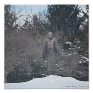 Peasant in the snow statue poster