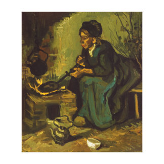 Peasant Woman Cooking by a Fireplace by Van Gogh Canvas Print