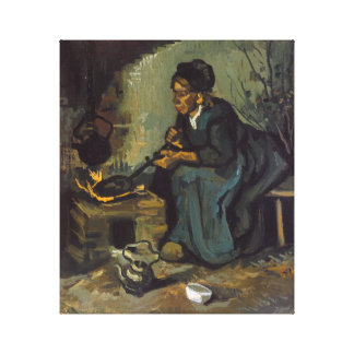 Peasant Woman Cooking by a Fireplace Canvas Print