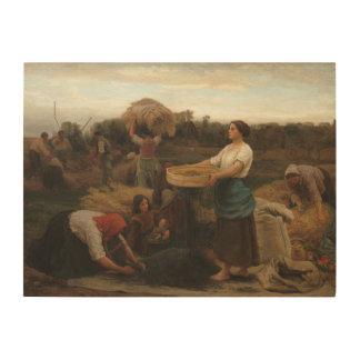 Peasant Women Harvesting  Rapeseed by Jules Breton Wood Wall Art