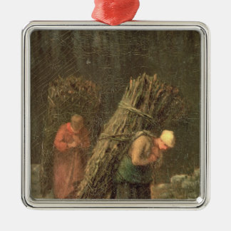 Peasant Women with Brushwood, c.1858 Silver-Colored Square Ornament
