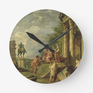 Peasants Amongst Roman Ruins, 1743 (oil on canvas) Round Clock