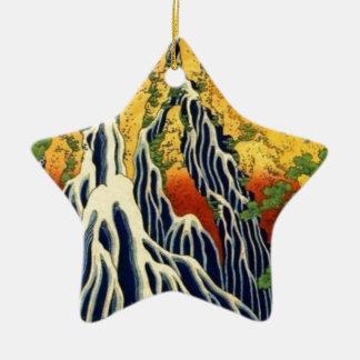 Peasants and Waterfall Ceramic Ornament