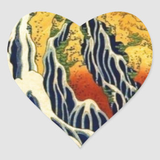 Peasants and Waterfall Heart Sticker