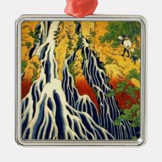 Peasants and Waterfall Metal Ornament