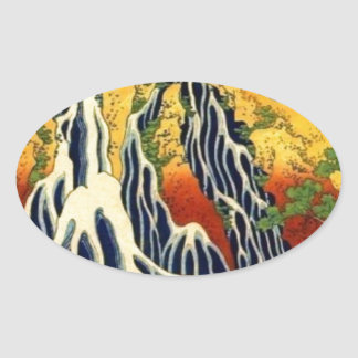 Peasants and Waterfall Oval Sticker