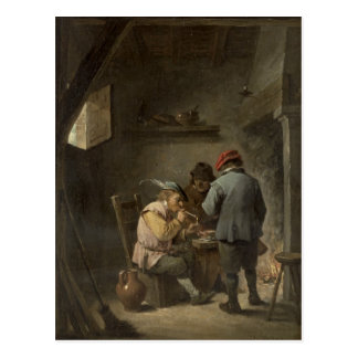 Peasants by an Inn Fire Postcard