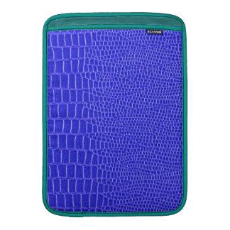 Peau d'animal en cuir bleue, équilibres de paon poches pour macbook air
