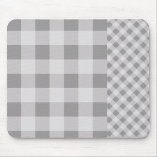Pebble Grey Gingham pattern Mouse Pad
