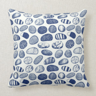 Pebble Pattern - Cyanotype Effect Throw Pillow