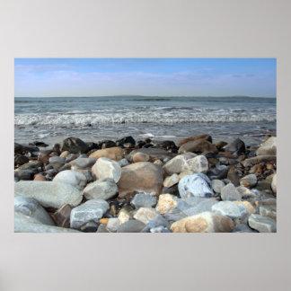pebble shore blue poster