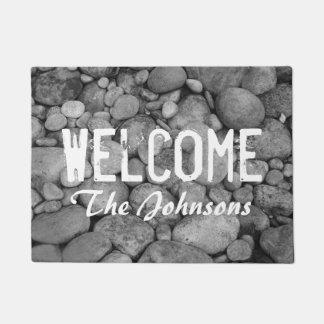 Pebble stones or custom photo image door mat