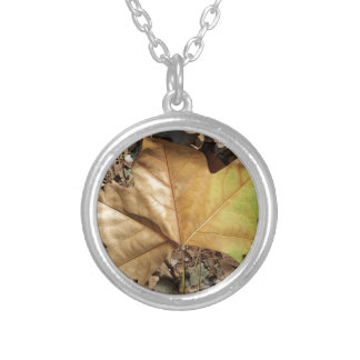 pebbles and leaves silver plated necklace