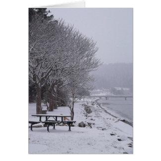 Pebbles Beach Winter Scene 2 Card