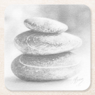 Pebbles Coaster, fine art drawing, pebble stack. Square Paper Coaster