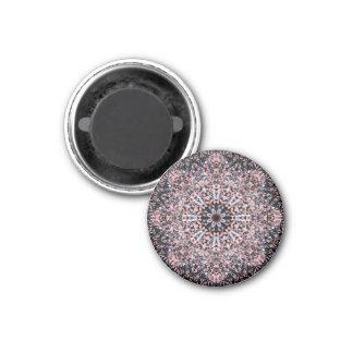 Pebbles Flower Mandala 1 Inch Round Magnet