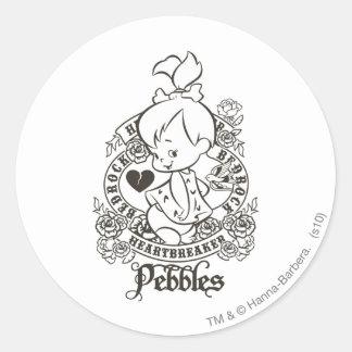 PEBBLES™ Heartbreaker B&W Classic Round Sticker