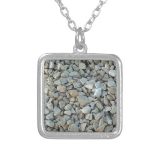 Pebbles on Beach Stone Photography Silver Plated Necklace