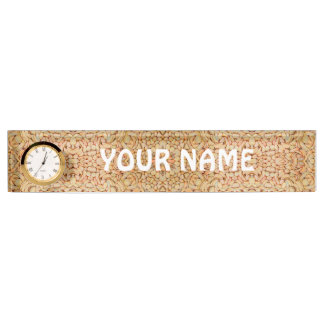 Pebbles Pattern  Desk Nameplate with Clock