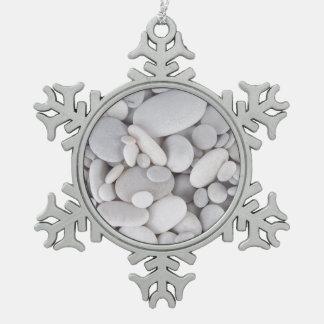 Pebbles, Rocks, Background Snowflake Pewter Christmas Ornament