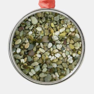 Pebbles Rocks Stones Texture Background Metal Ornament