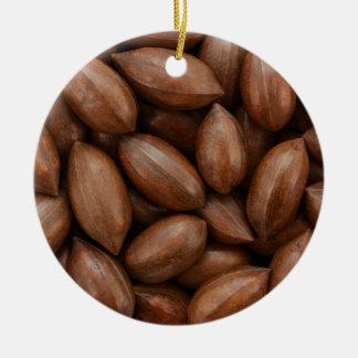 Pecan nuts round ceramic ornament