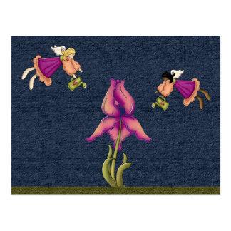 Pêche et iris pourpre cartes postales