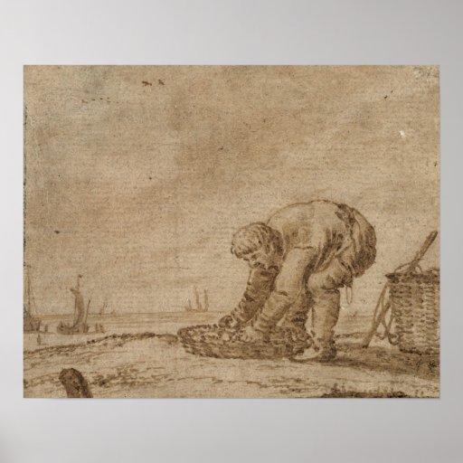Pêcheur sur le bord de mer, 1623 affiche