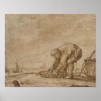 Pêcheur sur le bord de mer, 1623 poster