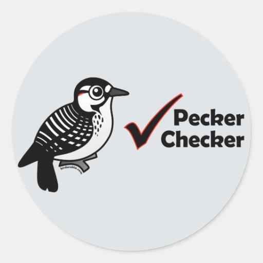 Pecker Chequered Round Stickers