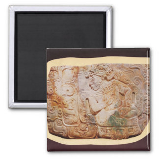 Pectoral of the King and a courtier from Tikal Square Magnet