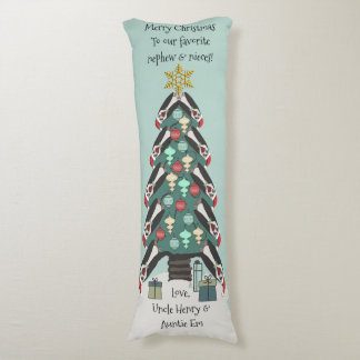 Peculiar Penguins Christmas Tree - Personalized Body Pillow