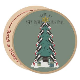 Peculiar Penguins Hang Around The Christmas Tree Card