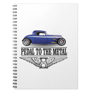 pedal to the metal blue spiral note books