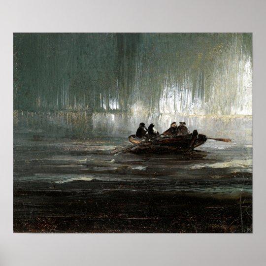 Peder Balke Northern Lights over Four Men Rowboat Poster