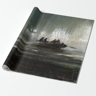 Peder Balke Northern Lights over Four Men Rowboat Wrapping Paper